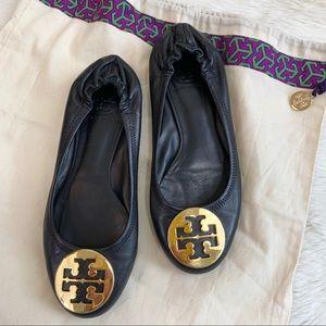 TORY BURCH Black Nappa Leather Reva Ballet Flats